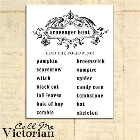 scavenger hunt card template vintage call me