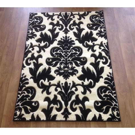 Moda Mod19 Damask Rug In Black Cream Damask Rug