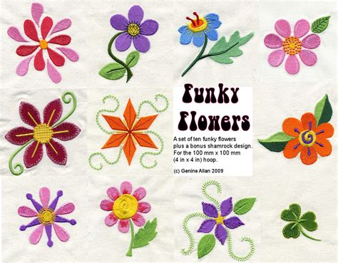 etsy embroidery pattern funky flowers embroidery design set machine by genniewren