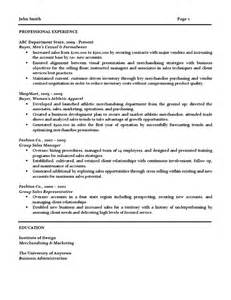 Retail Buyer Resume Exles by Retail Buyer Resume