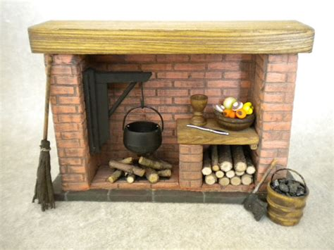 miniature fireplace with accessories colonial tudor medieval
