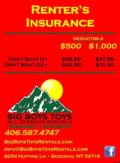 drift boat insurance cost bozeman mt recreational equipment rentals big boys toys