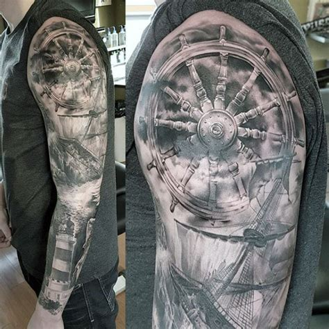 nautical tattoo sleeve 100 nautical tattoos for slick seafaring design ideas