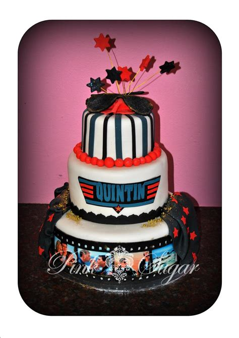 pink sugar top gun birthday cake