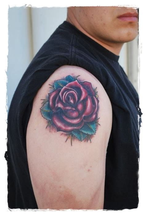 simple red tattoo simple painted little red rose tattoo on shoulder