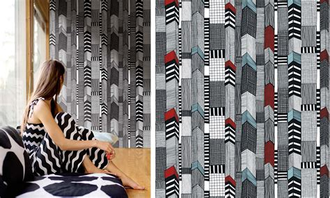bold wallpaper from marimekko adds stunning appeal to the black and white bathroom decoist home becomes her september 2013