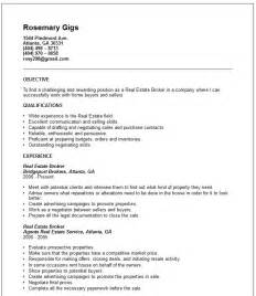 Exles Of Really Resumes by Real Estate Broker Resume Exle Free Templates Collection