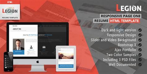 free one page responsive html resume template legion one page resume responsive html template by wpamanuke themeforest