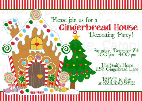 printable christmas cards to decorate gingerbread house decorating party printable invitation