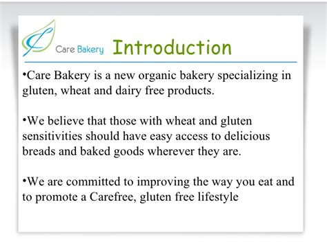 Introduction Letter For Bakery Business Care Bakery