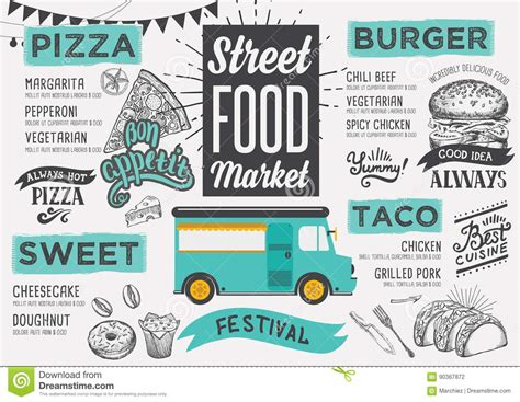 coq a doodle do food truck menu food menu design template vector illustration