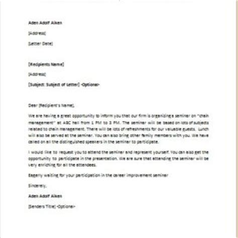 Invitation Letter Format For Presentation Formal Official And Professional Letter Templates Part 2