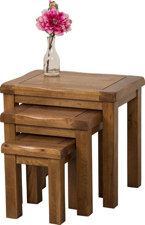 cotswold oak nest of 3 tables modern furniture direct