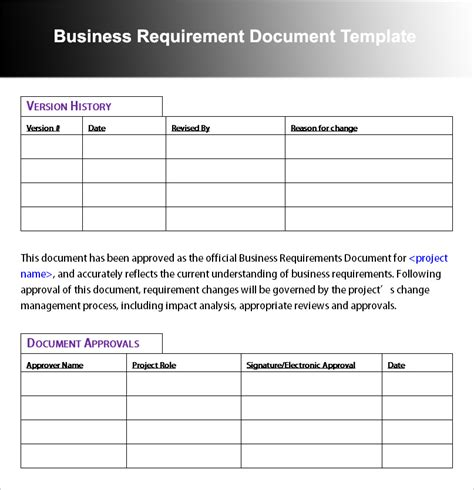 templates for business documents business requirement document template