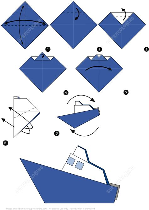 Make Papercraft - how to make an origami boat step by step