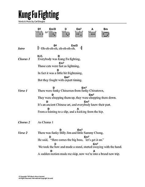 Printable Lyrics To Kung Fu Fighting | kung fu fighting sheet music by carl douglas lyrics