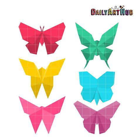 Folded Paper Butterflies - origami butterflies clip set daily hub free