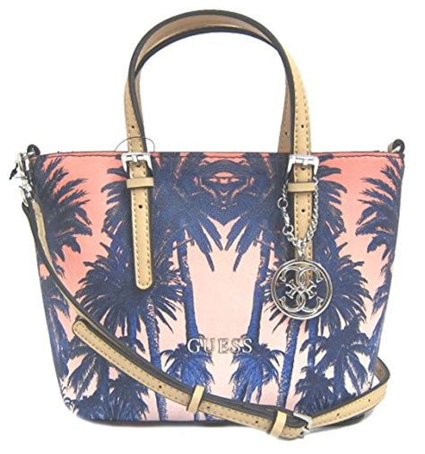 guess s delaney mini palm tree tote bag cobalt