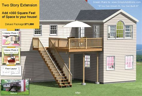 First Floor Plan by Two Story Home Extension 360 Sq Ft