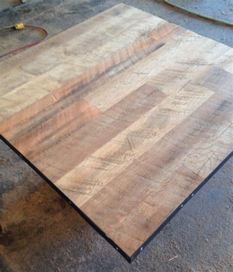 reclaimed wood restaurant table top unfinished wire