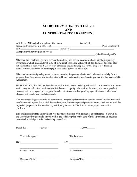 Sle Non Disclosure Agreement Confidentiality Agreement Sle Pinteres Exle Of Non Disclosure Agreement Template