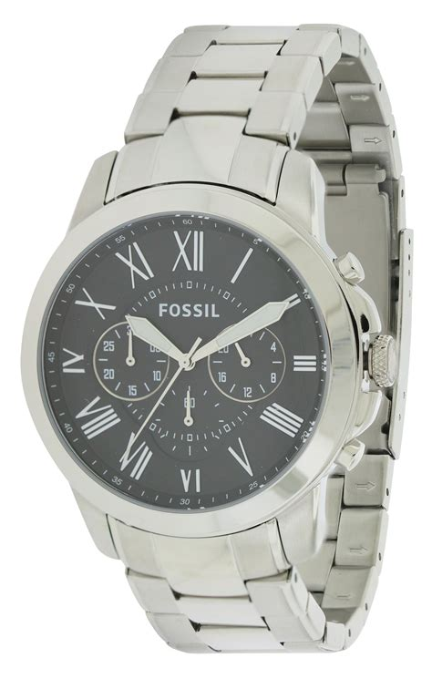Grant Sport Chronograph Stainless Steel And Wallet Box Set fossil open box grant stainless steel chronograph mens