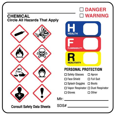 Ghs Secondary Container Label Template