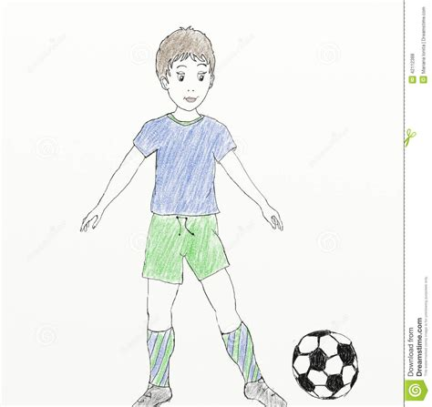 like drawing football player child like drawing stock illustration