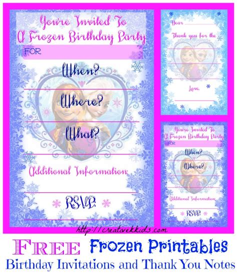 printable frozen birthday party invitations free frozen birthday party invitation and thank you