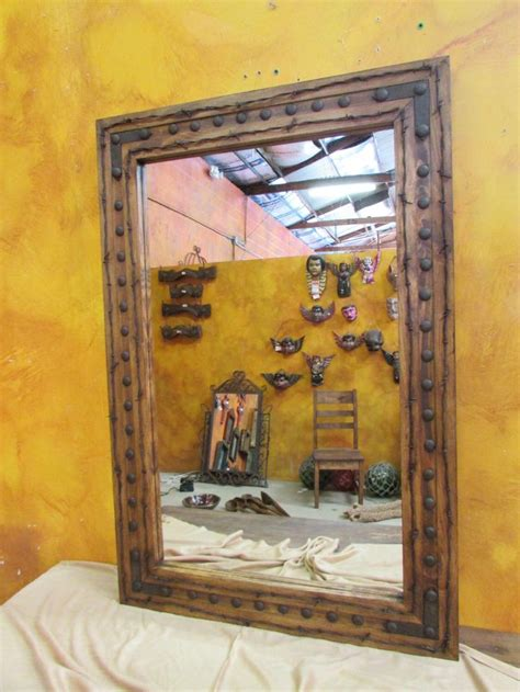 western bathroom mirrors bathroom vanity mirror rancho adobe rustic mirror 30x45 inches handmade barbed wire wall spanish