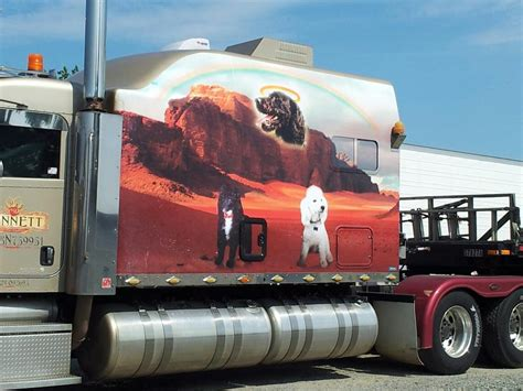 strange semi truck custom paint sleeper cab depicts
