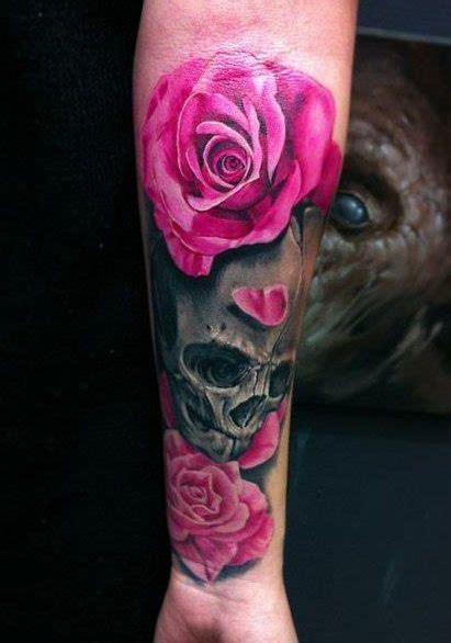 hot pink rose tattoo skull and pink roses