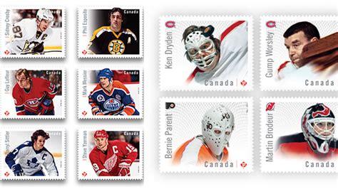 le timbre poste canadien pour postes canada trippe sur le hockey balle courbe