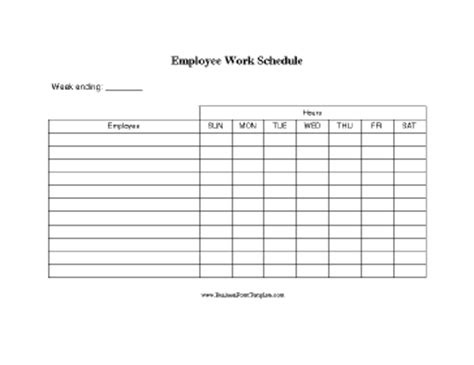 Employee Work Schedule Template Simple Work Schedule Template