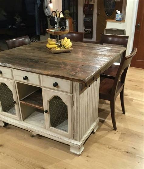 rustic kitchen island table from buffet to rustic kitchen island hometalk