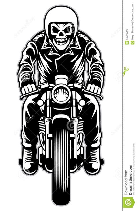 skull riding  cafe racer motorcycle style stock vector