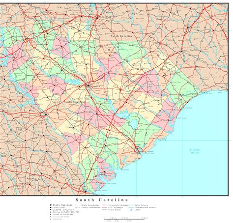 south carolina map south carolina political map