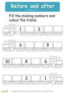 before and after numbers worksheet math for mocomi