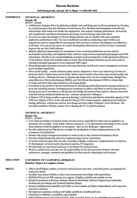 technical architect resume sles velvet