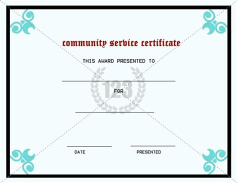 best community service certificate template