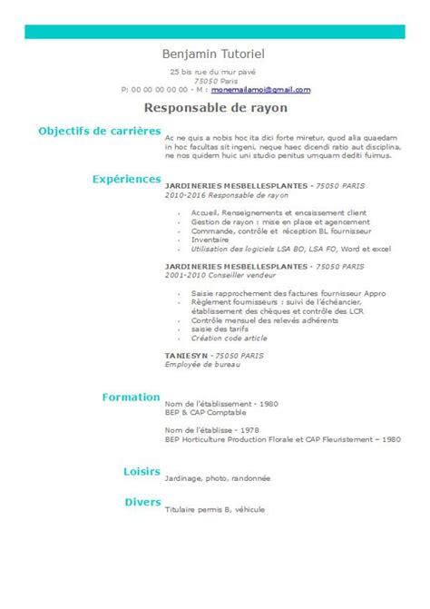 Modele De Cv Simple by Exemple De Cv Sous Openoffice Deux Colonnes Pour Un