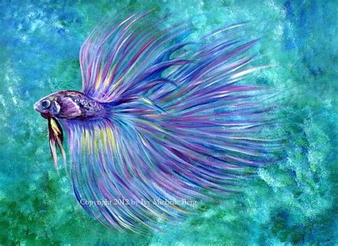 acrylic painting fish violet betta fish print of acrylic painting by