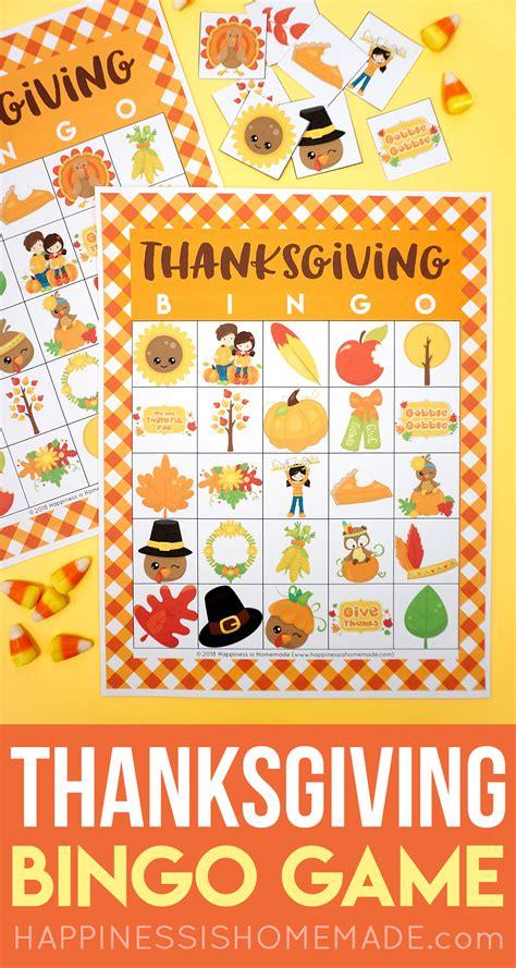printable thanksgiving bingo cards happiness