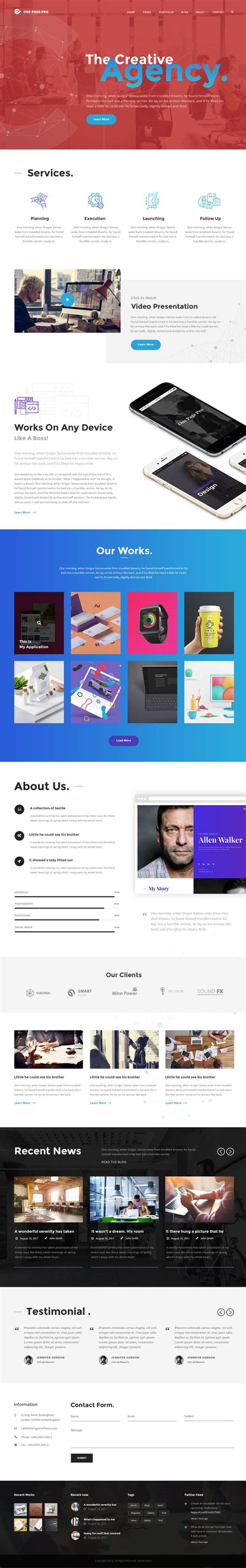 One Page Pro Multi Purpose Onepage Theme V1 0 2 50 best themes of 2017 idevie
