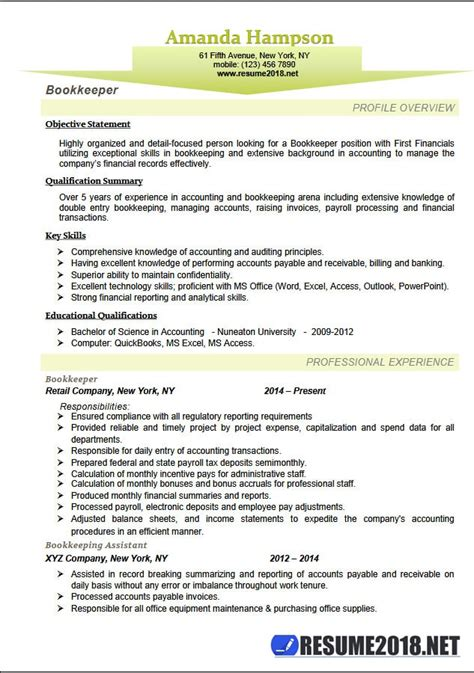 Bookkeeping Resume by Resume 2018 Templates For Bookkeeper 6 Sles In