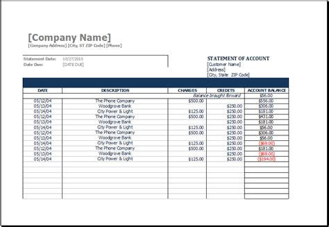 statement of account template ms excel printable statement of account template excel
