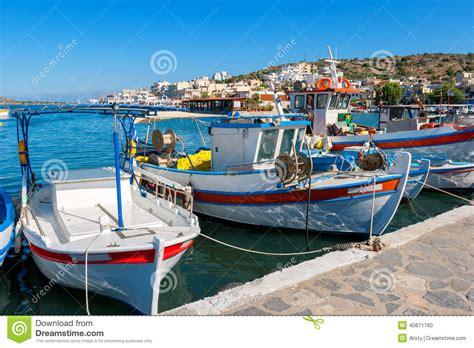 greek fishing boat plans elounda harbour crete greece stock photo image 40871760
