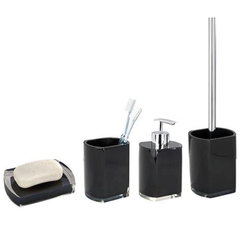 Black Bathroom Accessories by Wenko Lido Bathroom Accessories Set Black At