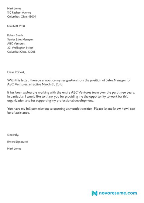 Resignation Letter Template Ipasphoto Resignation Email Template