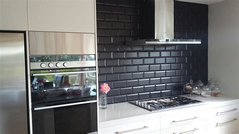 black backsplash in kitchen subway tile kitchen backsplash pictures of image black